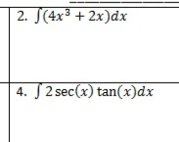 AP Calculus Indefinite Integrals Homework Integral