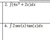 AP Calculus Indefinite Integrals Homework Integral