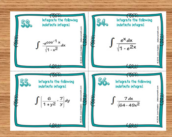 Calculus Integration by Substitution 60 Task or Station Cards