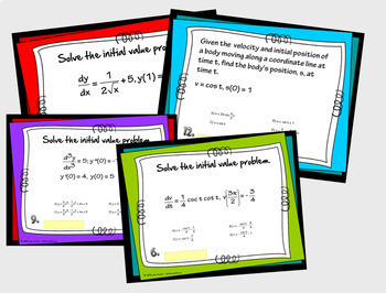 Calculus Initial Value Problems Digital Task Cards with GOOGLE Slides