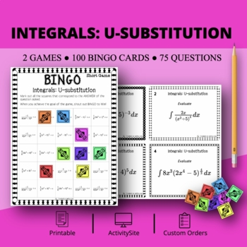 Calculus Integrals: U-substitution Math Bingo Review Game