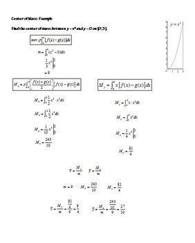 Calculus Integration Centroids Center of Mass Application