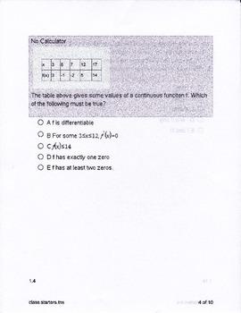 Calculus Integration Class Starters