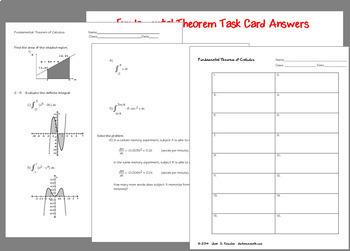 Calculus Integration Fundamental Theorem Definite Integral Task Cards and HW
