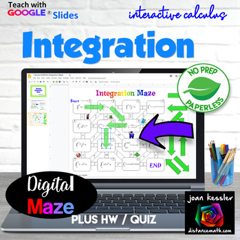 Calculus Integration Interactive Digital Maze GOOGLE Slides