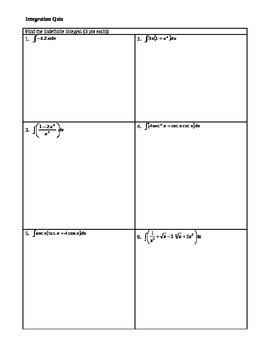 Calculus: Integration Quiz