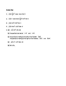 Calculus: Integration Review HW