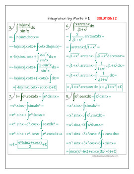 Calculus Integration by Parts - 2 WS ( 16 problems, detailed solutions typed)
