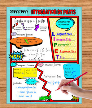 Calculus Integration by Parts  Comic Book Style FUN Notes NO PREP