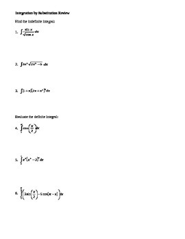 Calculus: Integration by Substitution Review