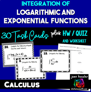 Calculus Integration of Exponential and Logarithmic Functions plus HW