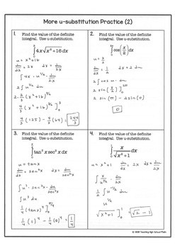 Calculus Integration u-substitution Practice