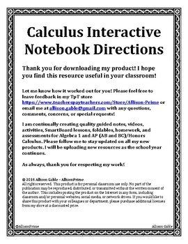Calculus Interactive Notebook Initial Directions - Start here!