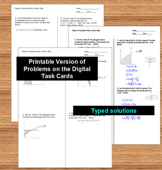 Calculus Interactive Volume of Revolution Disk Washer Shells with GOOGLE Slides™