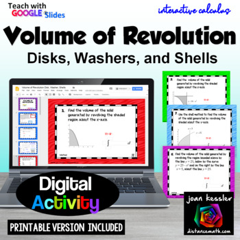 Calculus Volume of Revolution Disk Washer Shells with GOOGLE Distance Learning