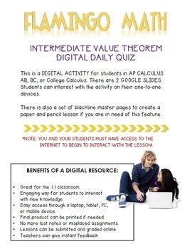 Calculus: Intermediate Value Theorem Daily Quiz Google Edition