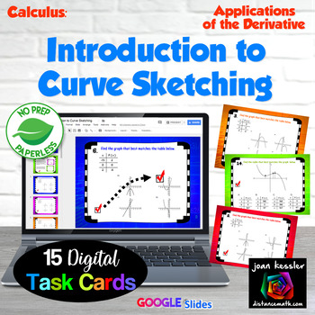 Calculus Introduction to Curve Sketching Digital Task Cards with Google Slides™