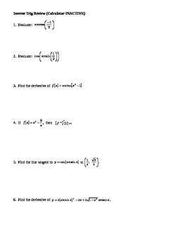 Calculus: Inverse Trig Review