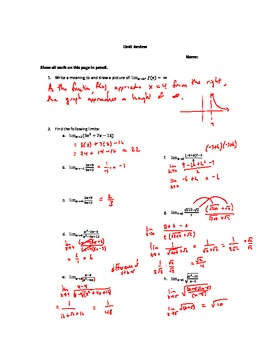 Calculus Limits Answer Key