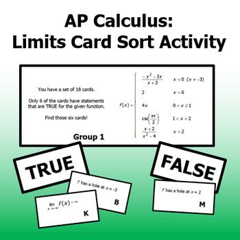 Calculus - Limits Card Sort Activity