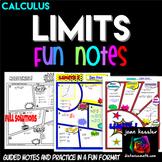 Calculus Limits Comic Book No Prep Fun Notes