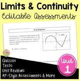 Calculus Limits and Continuity Assessments (Unit 1)