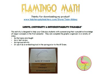 Calculus: Limits Foldable Continuity & Differentiability