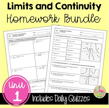 Calculus: Limits & Continuity Homework Only Bundle