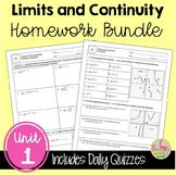 Calculus Limits and Continuity Homework (Unit 1)