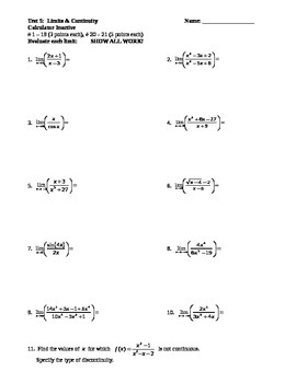 Calculus:  Limits & Continuity Test