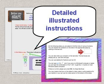 Calculus Limits End of Unit Digital Task Cards  with GOOGLE Slides