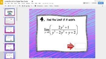 Calculus Limits End of Unit Digital Task Cards  with GOOGLE Slides™