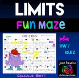 Calculus Limits Maze plus HW   Distance Learning