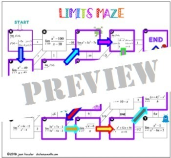 Calculus Limits Maze with GOOGLE Slides plus HW