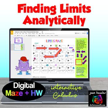 Calculus Limits Maze with GOOGLE Slides™ plus HW