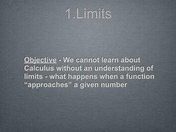 Calculus Limits Unit Presentation Slides (1-2 months)