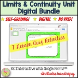 Limits and Continuity Daily Quiz Bundle Google  (Calculus - Unit 1)
