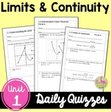 Limits and Continuity Daily Quizzes (Calculus - Unit 1)