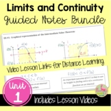 Calculus Limits and Continuity Guided Notes with Video Les