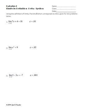 Calculus Limits by Delta Epsilon Notes plus Worksheets