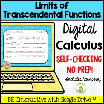 Calculus: Limits of Transcendental Functions Daily Quiz Google Edition