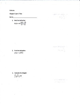 Calculus Logarithmic, Exponential, and Other Transcendental Functions Test