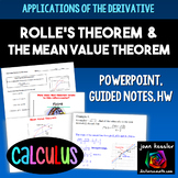 Calculus Mean Value Theorem for Derivatives and Rolle's Theorem