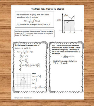 Calculus Mean Value Theorem Task cards, Guided Notes, Graphic Organizer