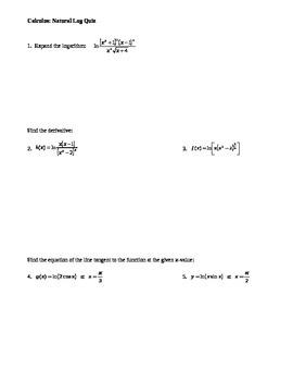 Calculus: Natural Log Quiz