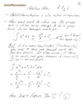 Calculus:  Notation Notes - Antiderivatives
