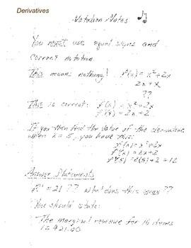 Calculus:  Notation Notes - Derivatives