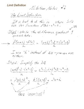 Calculus:  Notation Notes - Limit Definition of the Derivative