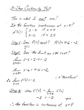 Calculus:  Notation Notes - Limits & Continuity