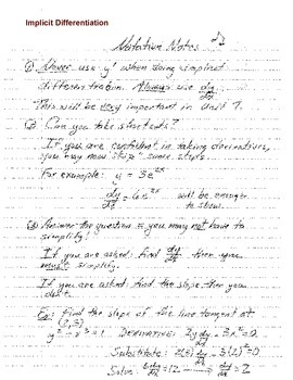 Calculus: Notation Notes for Implicit Differentiation